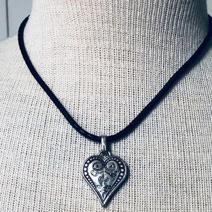 Brighton Ophelia Heart Braided Leather Necklace